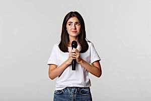 nervous woman with microphone