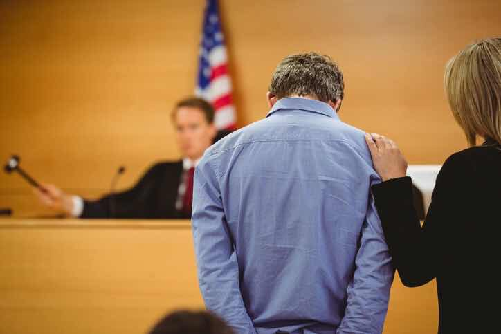 udge raises gavel about to declare man guilty
