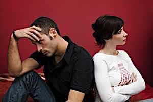 Frustrated man can\'t convince a resistive woman