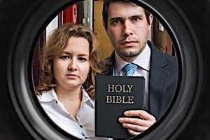 Jehovah witness parents holding bible force religion on child