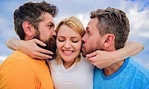 woman in love with two men